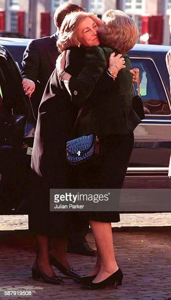 Queen Sofia of Spain greets Queen Beatrix of the Netherlands on a visit to The Paleis Het Loo National Museum in Apeldoorn as part of Queen Beatrix...