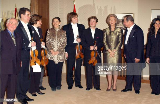 Queen Sofia of Spain her sister Princess Irene of Greece attend the GlaxoSmithKline Christmas Benefit Concert for 'Mundo en Armonia'