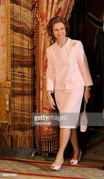 Queen Sofia of Spain hosts a literary reception in ocassion of the Cervantes Literary Award , at The Royal Palace on April 22, 2010 in Madrid, Spain.