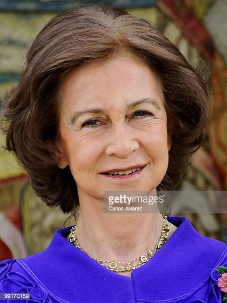 Queen Sofia of Spain hosts an audience at the Zarzuela Palace on May 13, 2010 in Madrid, Spain.