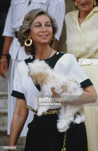 Queen Sofia of Spain in Palma de Majorca Spain 8th August 1987 Charles and Diana the Prince and Princess of Wales were staying with her at the time
