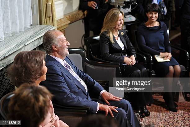 Queen Sofia of Spain King Juan Carlos of Spain Minister for Energy and the Environment Doris Leuthard and Spanish Foreign Minister Trinidad Jimenez...