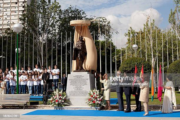 Queen Sofia of Spain officially unveils the Mahatma Ghandi sculpture at Plaza Joan Miro on October 2 2013 in Madrid Spain