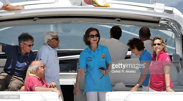Queen Sofia of Spain on board the Somni during the 29th Copa del Rey Mapfre Audi Sailing Cup on August 2 2010 in Palma de Mallorca Spain