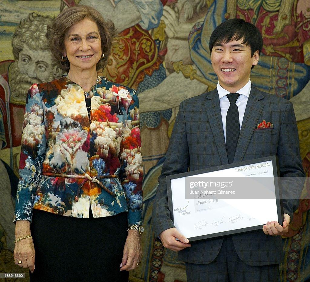 Queen Sofia of Spain Receives Mr. Eunho Chang at Zarzuela Palace