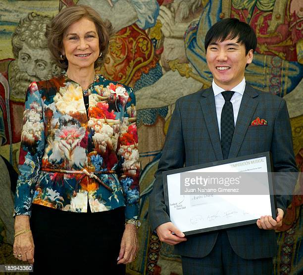 Queen Sofia of Spain presents the 'XXX Premio Reina Sofia de Composicion Musical 2012' to Eunho Chang at Zarzuela Palace on October 10 2013 in Madrid...
