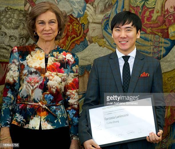 Queen Sofia of Spain presents ' XXX Premio Reina Sofia de Composicion Musical 2012' to Korean musician Eunho Chang at Zarzuela Palace on October 10...