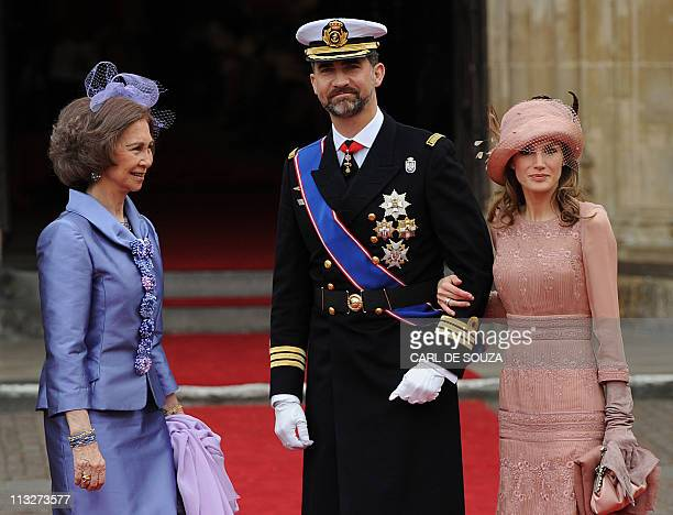 Queen Sofia of Spain Prince Felipe and Princess Letizia arrive at the West Door of Westminster Abbey for the wedding of Britain's Prince William...