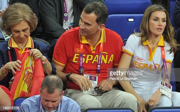Queen Sofia of Spain Prince Felipe of Spain and Crown Princess Letizia of Spain during the Men's Basketball gold medal game between the United States...