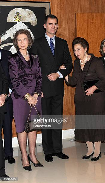 Queen Sofia of Spain Prince Felipe of Spain and Infanta Margarita de Borbon attend 'Queen Victoria Eugenia' tribute concert at the Reina Sofia School...