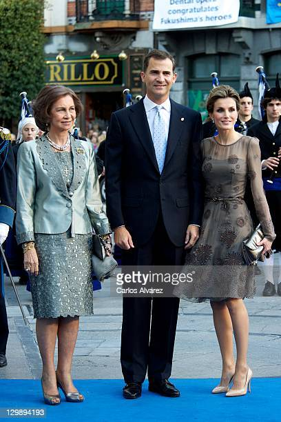 """Queen Sofia of Spain, Prince Felipe of Spain and Princess Letizia of Spain attend """"Principe de Asturias"""" awards 2011 ceremony at the Campoamor..."""