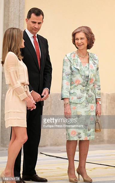 Queen Sofia of Spain Prince Felipe of Spain and Princess Letizia of Spain receive the Spanish Olympic team at El Pardo Palace on July 23 2012 in...