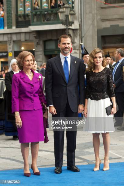 Queen Sofia of Spain Prince Felipe of Spain and Princess Letizia of Spain attend the Prince of Asturias Awards 2012 ceremony at the Campoamor Theater...