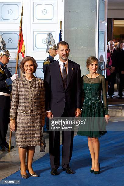 Queen Sofia of Spain Prince Felipe of Spain and Princess Letizia of Spain attend the Prince of Asturias Awards 2013 ceremony at the Campoamor Theater...