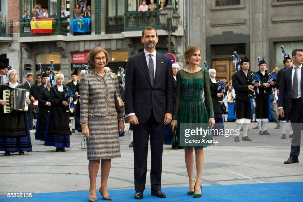 Queen Sofia of Spain Prince Felipe of Spain and Princess Letizia of Spain attend the 'Prince of Asturias Awards 2013' ceremony at the Campoamor...