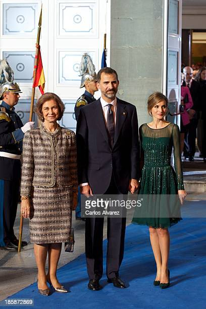 """Queen Sofia of Spain , Prince Felipe of Spain and Princess Letizia of Spain attend the """"Prince of Asturias Awards 2013"""" ceremony at the Campoamor..."""