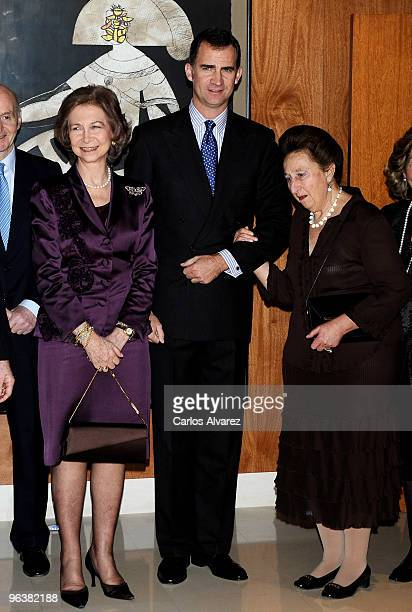 Queen Sofia of Spain Prince Felipe of Spain and Princess Margarita of Spain attend Queen Victoria Eugenia Tribute concert at the Music School Reina...