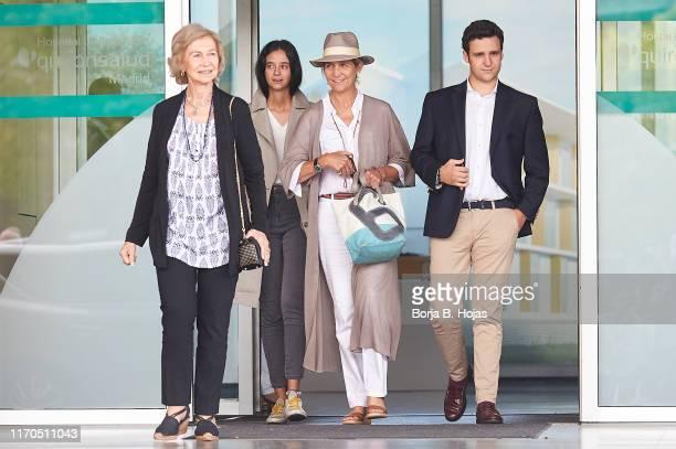 Queen Sofia of Spain, Princess Elena of Spain, Juan Froilan de Marichalar and Victoria Federica de Marichalar is seen leaving Quiron Hospital after...
