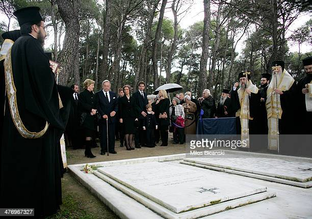 Queen Sofia of Spain, Princess Irene of Greece, King Constantine II and his wife Queen Anne Marie of Greece and Pavlos, Crown Prince of Greece and...