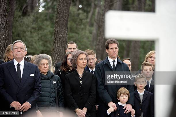 Queen Sofia of Spain, Princess Irene of Greece, King Constantine II and Pavlos, Crown Prince of Greece with his children attend the Orthodox Mass...