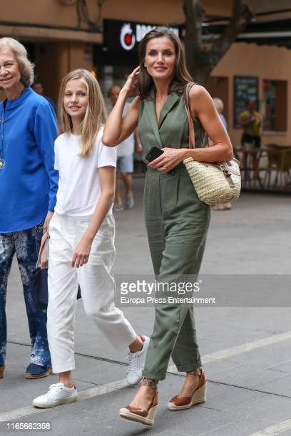 Queen Sofia of Spain Princess Leonor of Spain and Queen Letizia of Spain are seen on August 01 2019 in Palma de Mallorca Spain