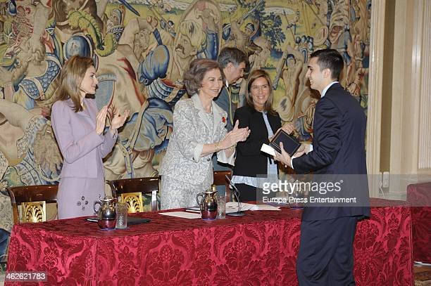 Queen Sofia of Spain , Princess Letizia and Ana Mato gives 'Civil Awards Order Of Social Solidarity 2012' to Lorenzo Diaz Campoy at Zarzuela Palace...