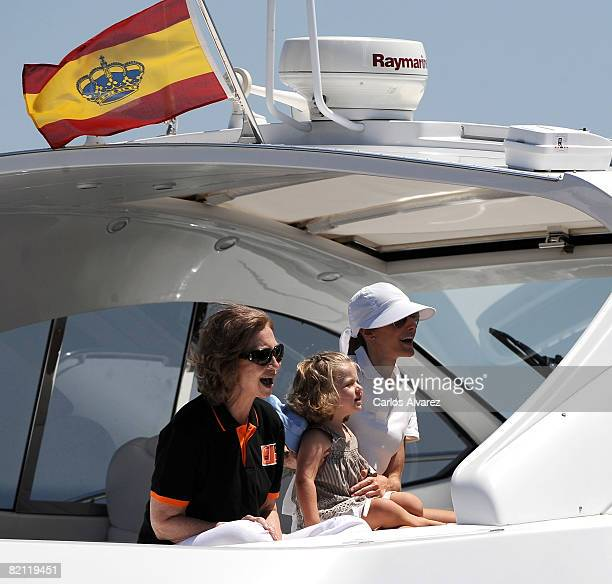 Queen Sofia of Spain Princess Letizia of Spain and daughter Princess Leonor of Spain on board the yacht 'Sommi' during the 27th Copa del Rey Mapfre...