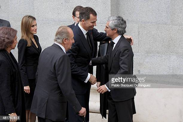 Queen Sofia of Spain Princess Letizia of Spain King Juan Carlos of Spain Prince Felipe of Spain and Adolfo Suarez Illana arrive to the state funeral...