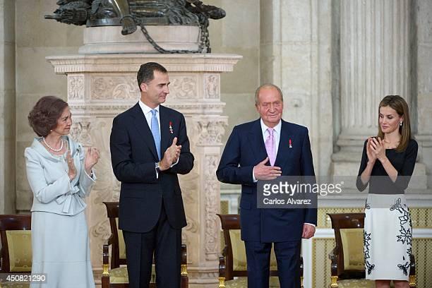 Queen Sofia of Spain, Princess Sofia of Spain, Prince Felipe of Spain, Princess Leonor of Spain, King Juan Carlos of Spain and Princess Letizia of...