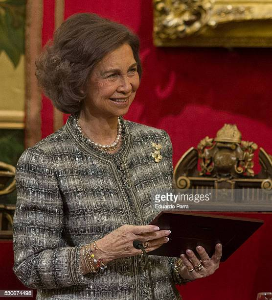 Queen Sofia of Spain received the Honorable Mention of the Spanish Society of Neurology at Royal Academy of Medicine at May 11 2016 in Madrid Spain