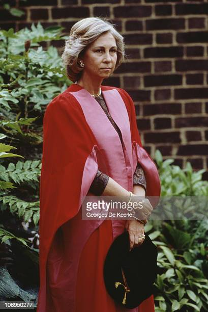 Queen Sofia of Spain receives an honorary doctorate at Cambridge University 7th July 1988 Her husband King Juan Carlos also received one