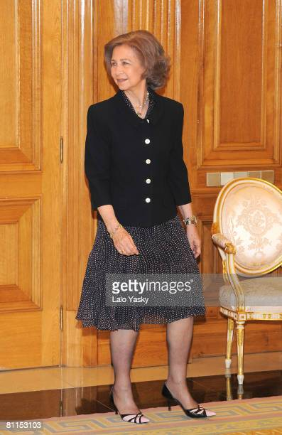 Queen Sofia of Spain receives Bulgarian President Gueorgui Parvanov at Zarzuela Palace on May 19 2008 in Madrid Spain