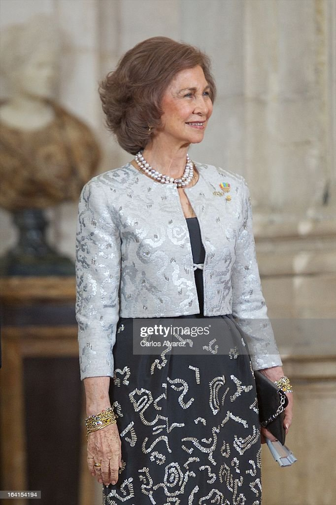 Queen Sofia of Spain receives International Olympic Committee Evaluation Commission Team for a dinner at the Royal Palace on March 20, 2013 in Madrid, Spain.