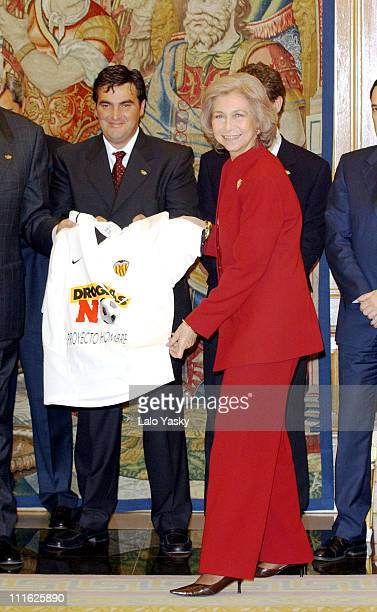 Queen Sofia of Spain receives organization staff of the 'XI Soccer Match Against Drugs' at Zarzuela Palace in Madrid 'Soccer Match Against Drugs'...