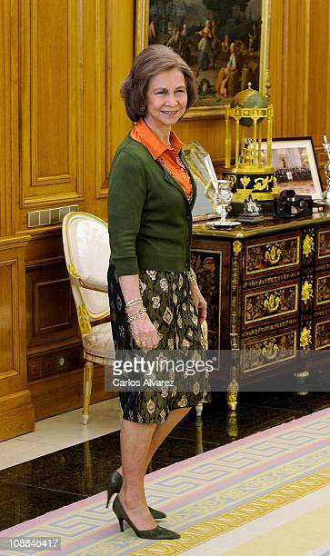Queen Sofia of Spain receives Placido Domingo and wife Marta Ornellas at Zarzuela Palace on January 19 2011 in Madrid Spain