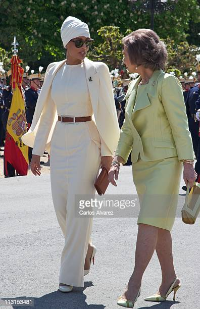 Queen Sofia of Spain receives Sheikha Moza Bint Nasser AlMissned at El Pardo Palace on April 25 2011 in Madrid Spain The Emir of the State of Qatar...