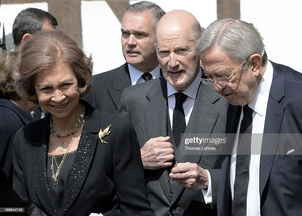 Queen Sofia of Spain, Simeon Saxe-Coburg-Gotha and former King Constantine of Greece attend the funeral service of Moritz Landgrave of Hesse at Johanniskirche on June 3, 2013 in Kronberg, Germany. Moritz of Hesse died aged 86 years on May 23 in Frankfurt. A great-grandson of the Emperor Frederick III and great-grandson of Queen Victoria, he was related to many European royal families.