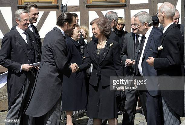 Queen Sofia of Spain Simeon SaxeCoburgGotha and the former King Constantine of Greece attend the funeral service of Moritz Landgrave of Hesse at...