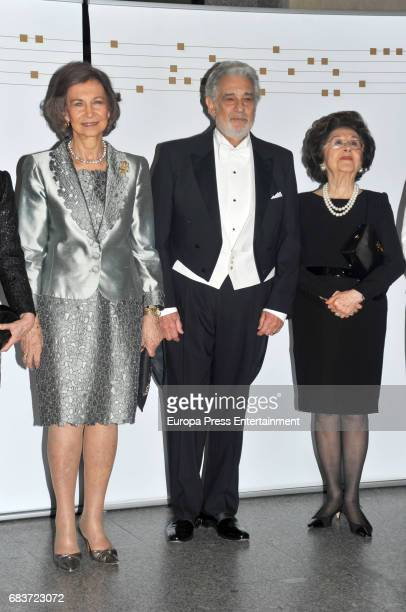 Queen Sofia of Spain, Singer Placido Domingo and his wife Marta Ornelas attend a Placido Domingo's concert at Royal Theatre on May 14, 2017 in...