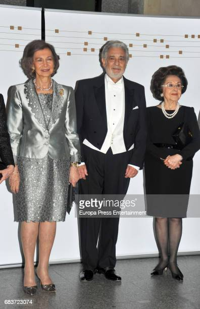 Queen Sofia of Spain Singer Placido Domingo and his wife Marta Ornelas attend a Placido Domingo's concert at Royal Theatre on May 14 2017 in Madrid...