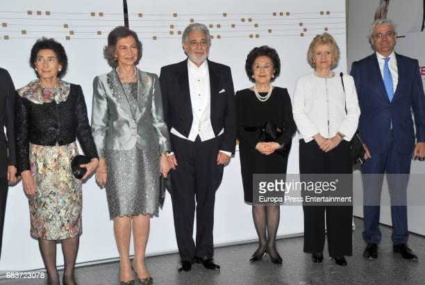Queen Sofia of Spain Singer Placido Domingo his wife Marta Ornelas Soledad Becerril and Paloma O'Shea attend a Placido Domingo's concert at Royal...