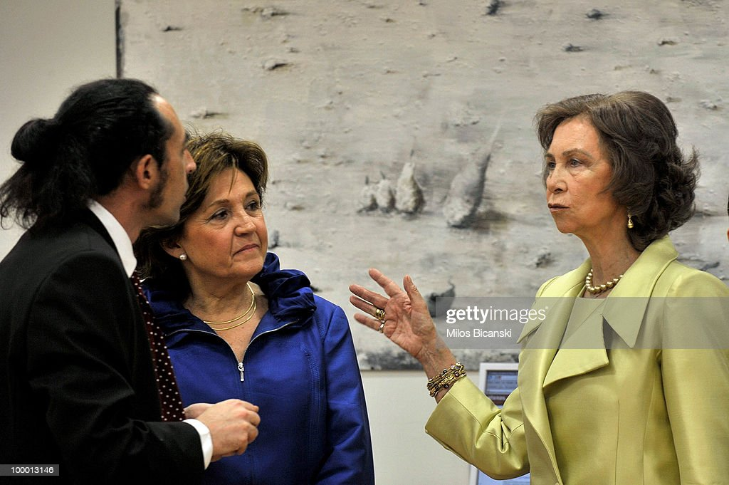 Queen Sofia of Spain speaks to employess as she inaugurates the new building of the Cervantes Institute in central Athens, on May 19, 2010 in Athens, Greece. The Cervantes Institute was created to promote the Spanish language and culture. Queen Sofia was visiting the Institute during a two-day visit in Greece.