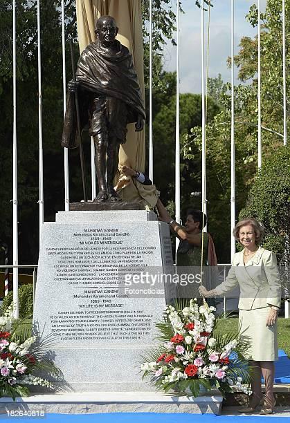 Queen Sofia of Spain unveils Mahatma Ghandi sculpture at Plaza de Joan Miro on October 2 2013 in Madrid Spain