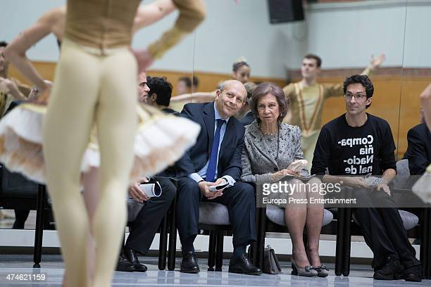 Queen Sofia of Spain visits Spanish National Ballet and Spanish National Dance Company at Naves del Matadero on February 24 2014 in Madrid Spain