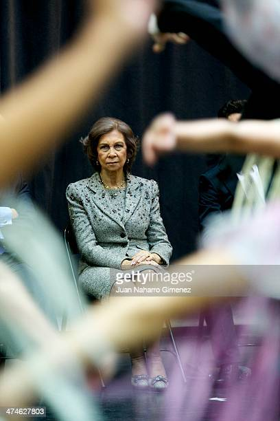 Queen Sofia of Spain visits the Spanish National Ballet at Spanish National Ballet sede on February 24 2014 in Madrid Spain