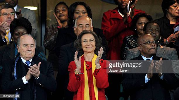 Queen Sofia of Spain with FIFA President Joseph Sepp Blatter and South Africa President Jacob Zuma enjoy the atmosphere ahead of the 2010 FIFA World...