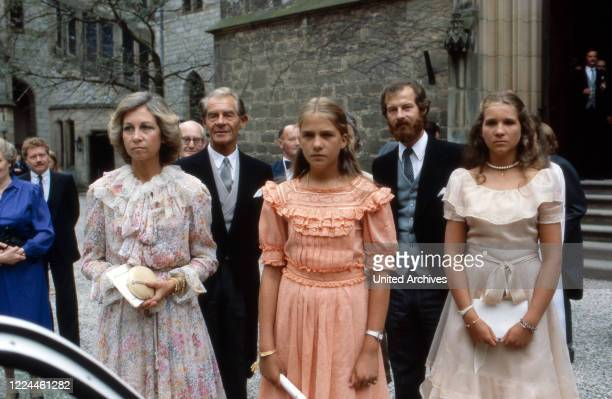 Queen Sofia of Spain with her daughters Cristina and Elena at the wedding of heir to the throne Ernst August von Hanover with Chantal Hochuli at...