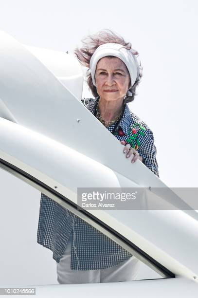 Queen Sofia and Princess Elena of Spain on board of Somni attend the 37th Copa del Rey Mapfre sailing cup on August 3 2018 in Palma de Mallorca Spain