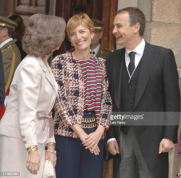 Queen Sofia Prime Minister Rodriguez Zapatero and his wife Sonsoles Espinosa at the Alcala de Henares University April 21 ahead of the Cervantes...