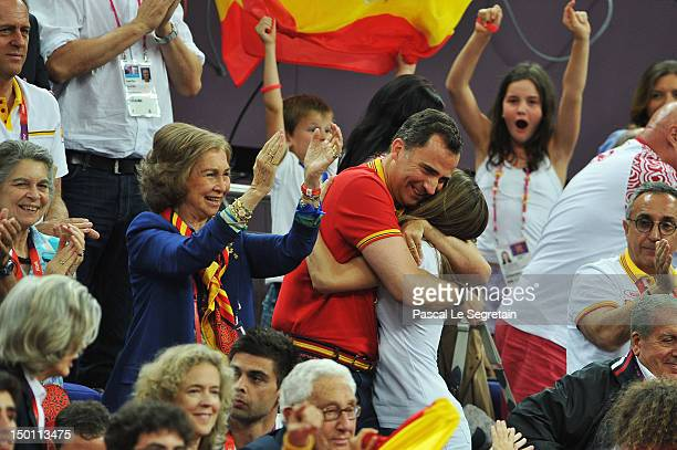 Queen Sofia Prince Felipe and Princess Letizia of Spain celebrate during the Men's Basketball semifinal match between Spain and Russia on Day 14 of...